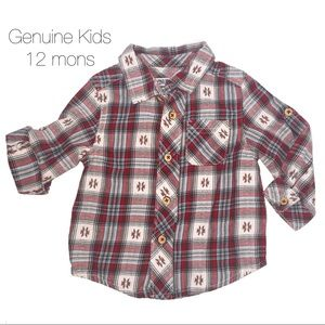 Genuine Kids Red White Western Button Up 12 mons